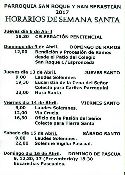 Horarios Semana Santa 20174