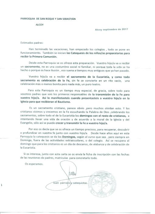 Comunicado Catequesis Comunión 2017-2018 copia
